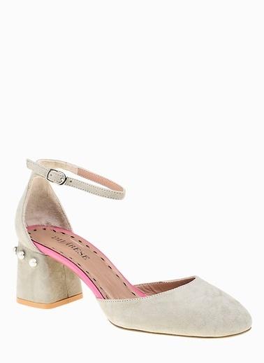 Divarese Kalın Topuklu %100 Deri Ayakkabı Yeşil